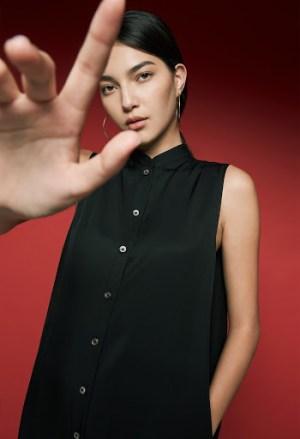 Style Theory AKINN Cocoon Shirt Dress in Black