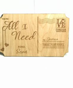 wooden postcard personalized Custom engraved wood valentine's day postcard unique gift
