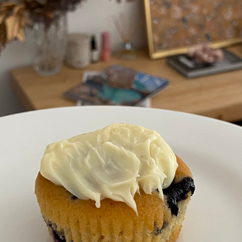 Blueberry and Orange Cupcakes with Cream Cheese frosting