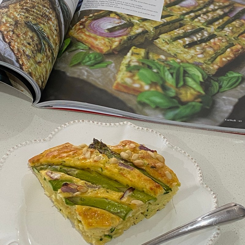 Zucchini, Halloumi and Asparagus Slice with Herb Salad – Well Nourished Recipe
