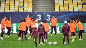 Real Madrid train at the Olympic Stadium in Kiev