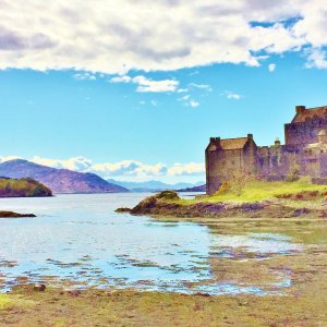 Scottish castle on headland looking out to sea