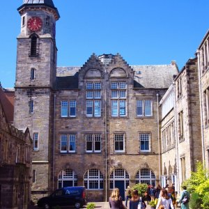 Students in ancient royal university town of St Andrews, Scotland