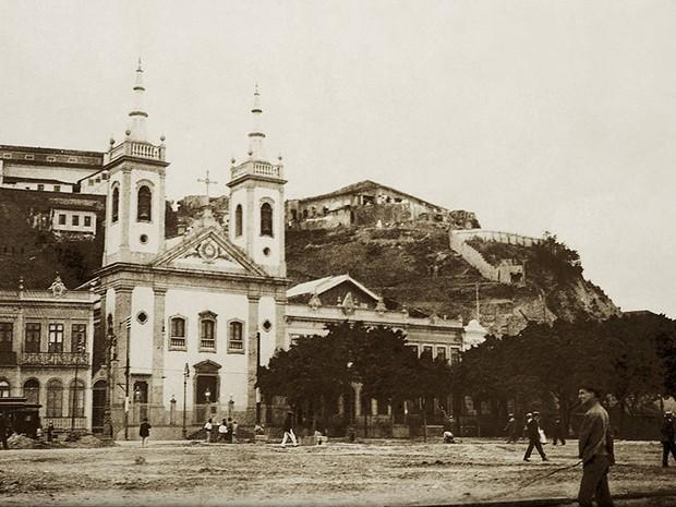 Imagem do Morro do Castelo, registrada por Alberto de Sampaio em 1906 (Foto: Alberto de Sampaio/Centro Cultural Correios Rio / Divulgação)