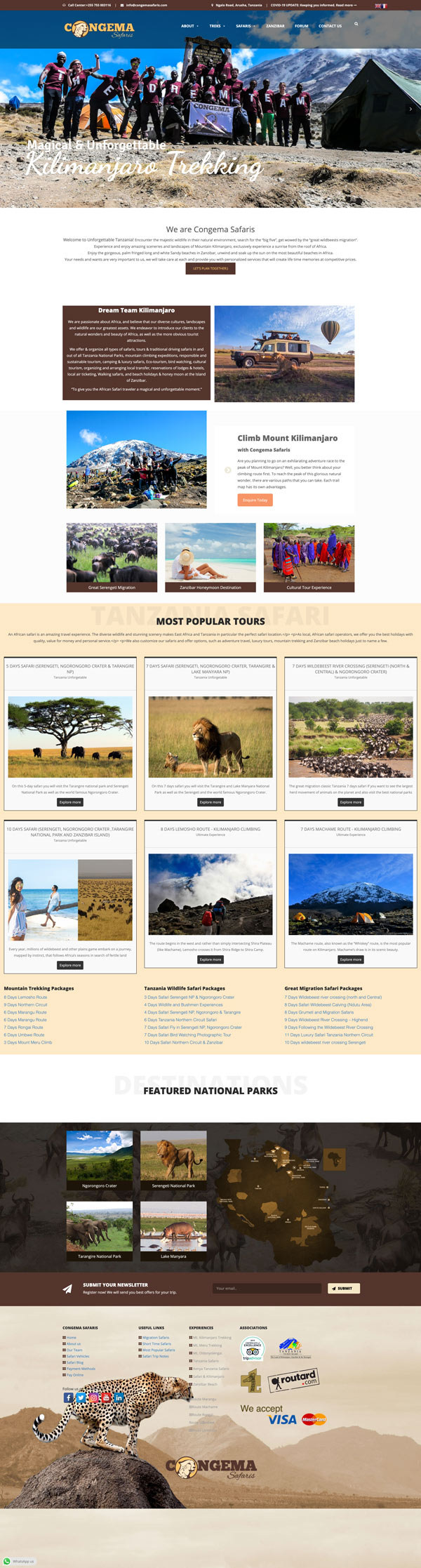 Congema Safaris Website