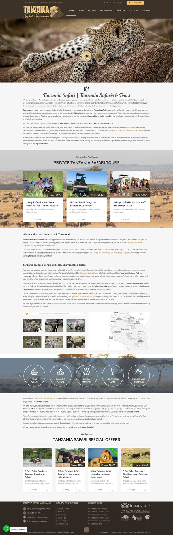 Safaris in Tanzania Website
