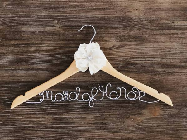 Regular Wood Maid of Honor Hanger with Yellow Flower and Silver Wire