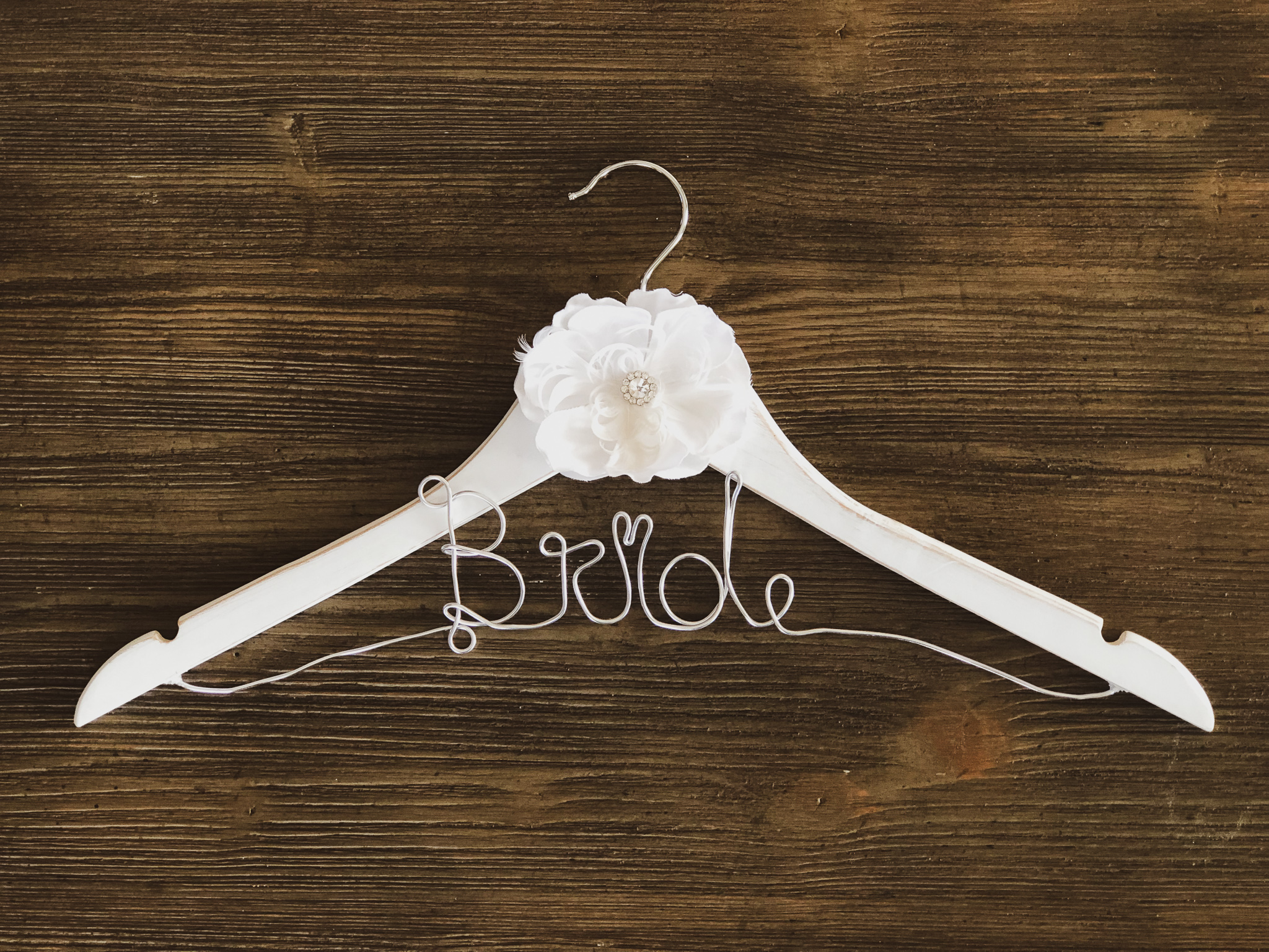 Rustic White Bride Hanger with white flower and Silver Wire