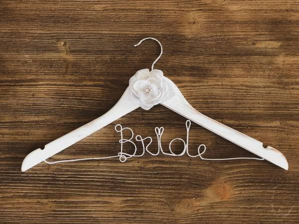Rustic White Bride Hanger with grey flower and Silver Wire