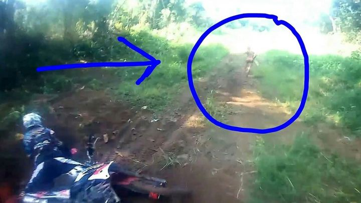 Group of motorcyclists in Indonesia are surprised by strange humanoid (may be an Alien)