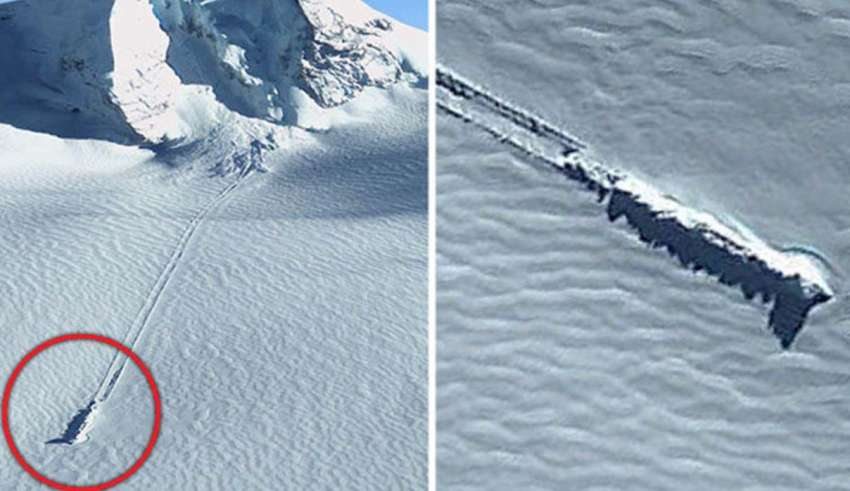 Google Earth images reveal a crashed UFO in Antarctica