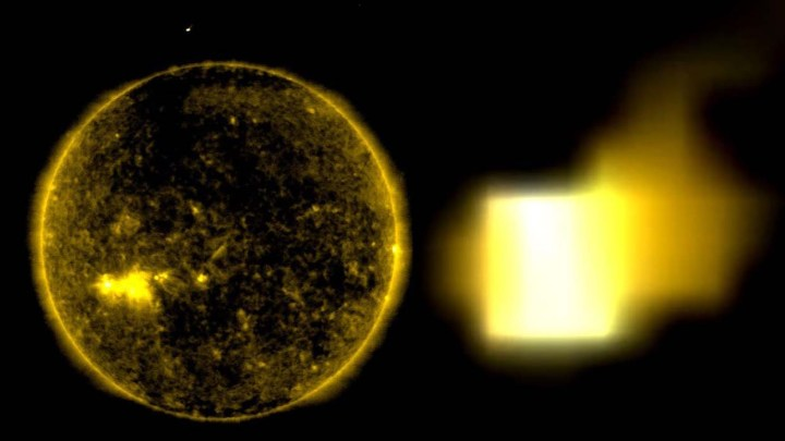 NASA Images shows a huge cube shaped UFO approaching the sun