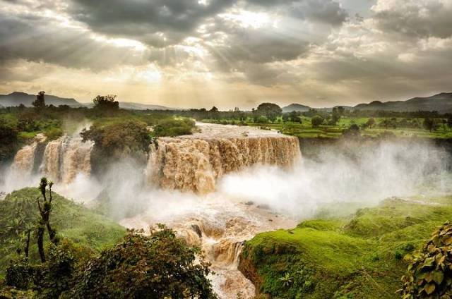 The Nile River begins in the highlands of Ethiopia, near the Blue Nile Falls (photo).