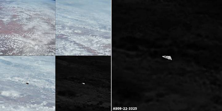 Triangular UFO appears in official NASA photographs  from the Apollo 9