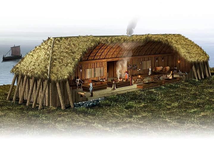 Artistic reconstruction of Viking communal house. Viking Settlement