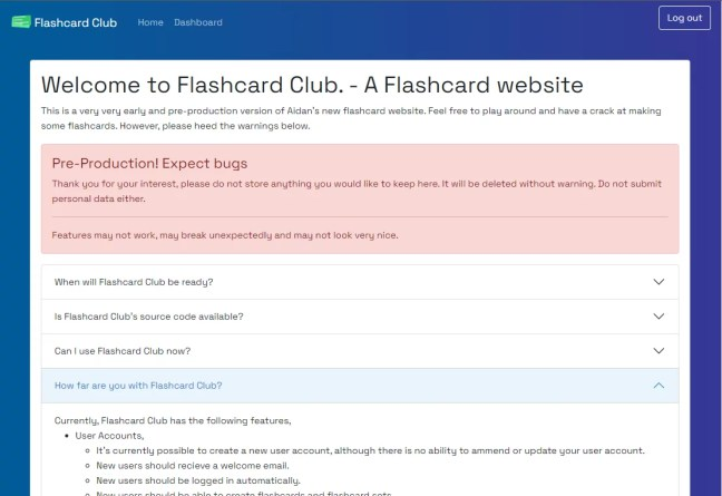 flashcard club main page.