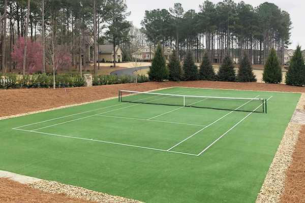 tennis court designed with artificial grass