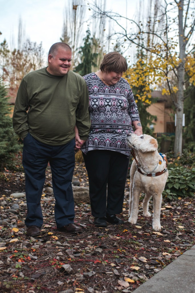 Pictured Left, Infinity Vision Travel founders Kevin, Ayla and their guide dog Victory.