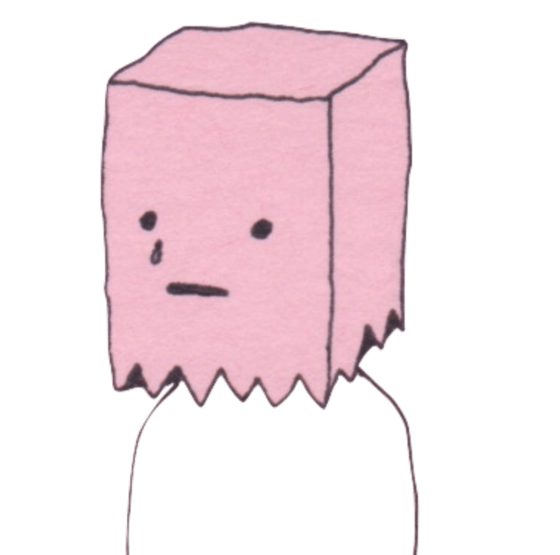 illustration of person wearing paper bag over head