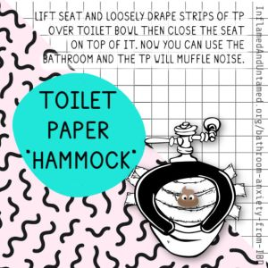 Lift seat and loosely drape strips of TP over toilet bowl then close the seat on top of it. Now you can use the bathroom and the TP will muffle noise.