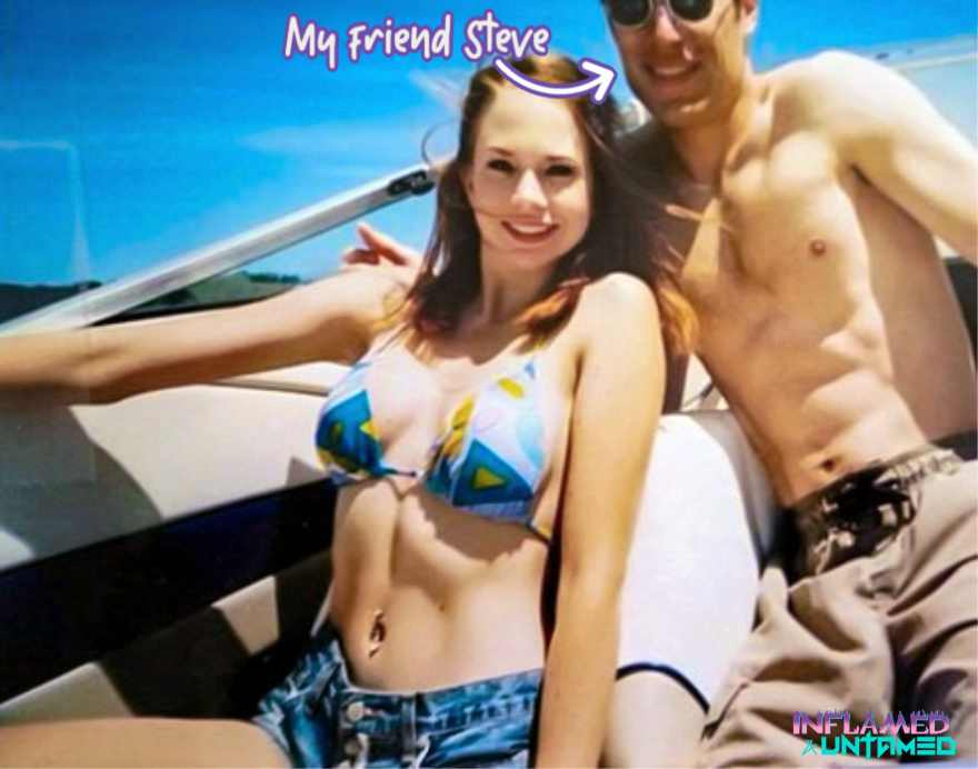 Me and my friend Steve on a boat in our bathing suits