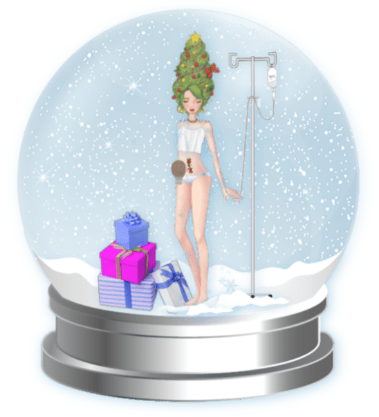 A snow globe. Inside is a girl standing next to an IV pole and a pile of presents. She has an ostomy bag and a surgery scar