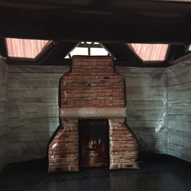 Saloon interior- Dark brick - open fire