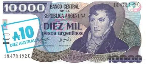 Argentina – 10,000 pesos argentinos, 1985