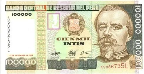 Peru – 100,000 intis, 1989