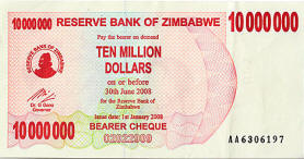 Zimbabwe Inflation -  10 million dollars