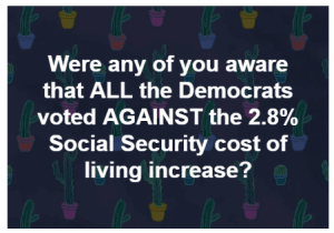 Did the Democrats Really Vote Against the Social Security Cost of Living Increase?