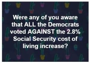 Democrats Vote Social Security