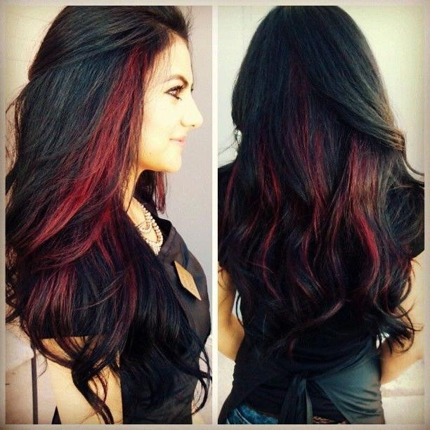 Long hair red highlights image collections hair extension hair hairstyles black hair with red highlights hairsstyles black hair red highlights gallery and trends 2018 sample pmusecretfo Images