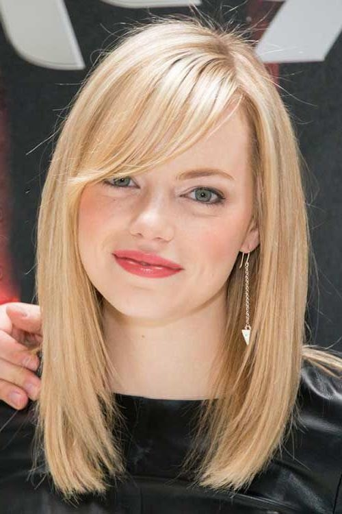 Photo Gallery Of Long Bob Hairstyles With Side Swept Bangs