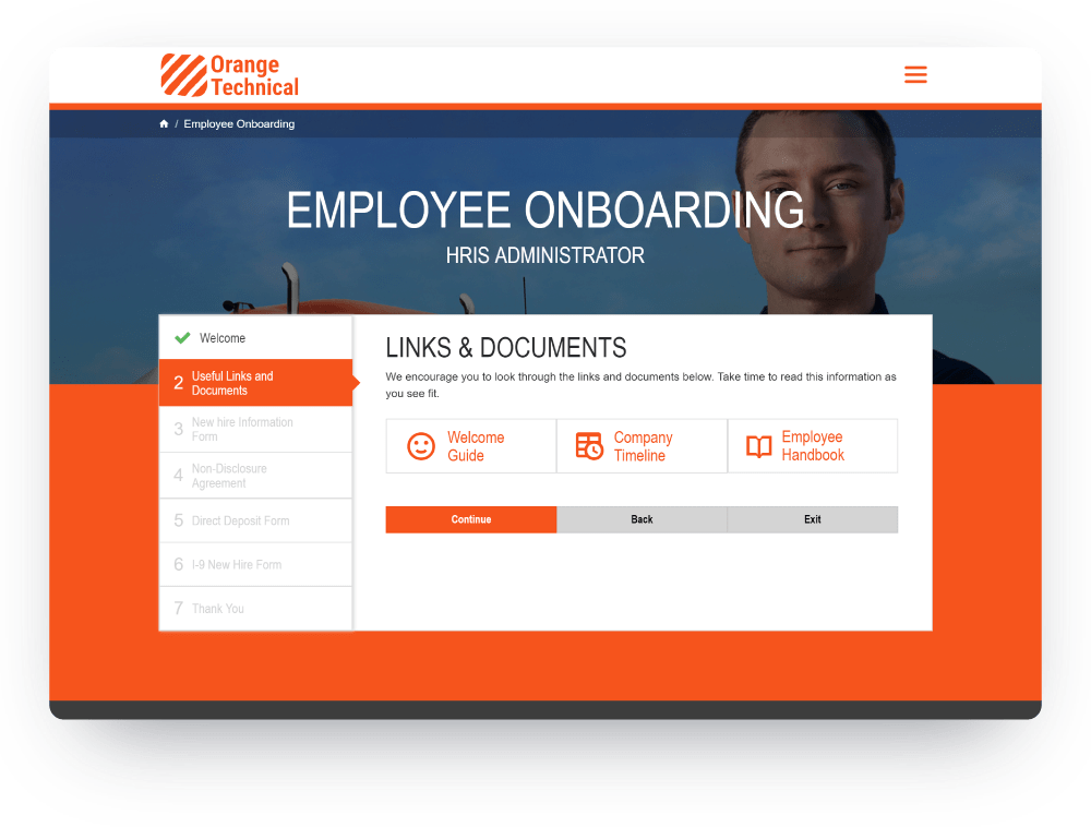 Onboarding Workflow Screen