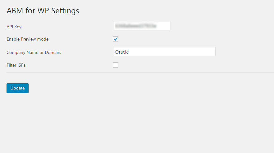 ABM for WP settings filled in