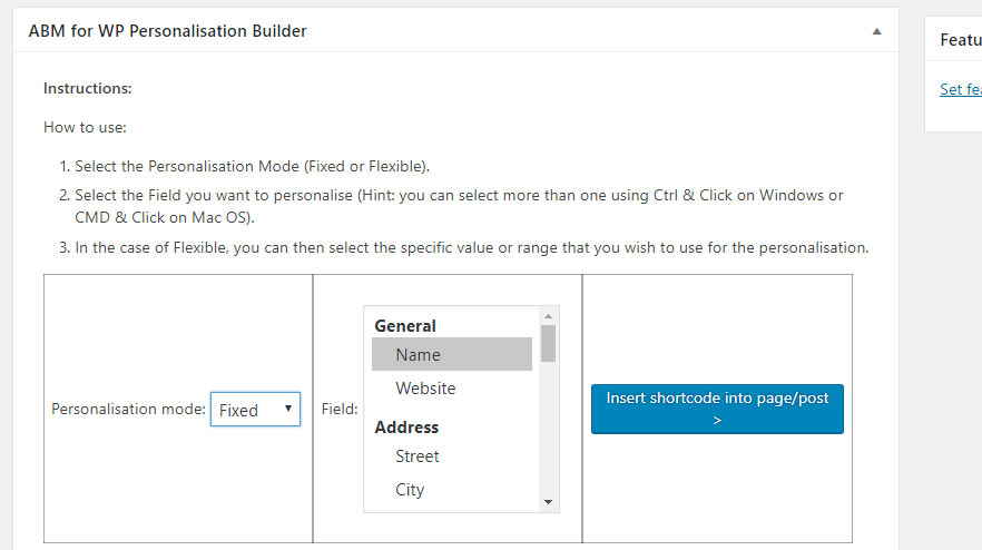 ABM for WP fixed personalisation builder