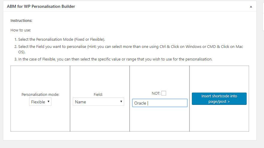 ABM for WP personalisation builder flexible
