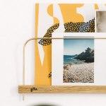 étagère photo support mural cadre en bois et laiton