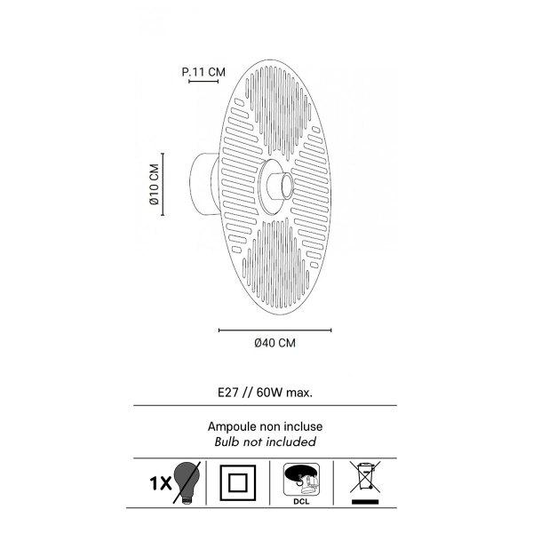 Dimensions Applique graphique en laiton Watelily Marketset ronde