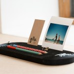Set de bureau made in france, porte carte, porte crayon, GLLU valchromat noir