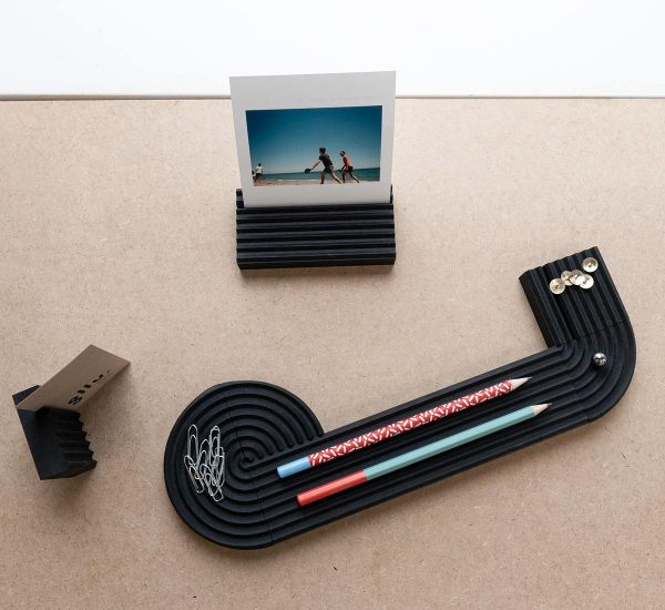 Set de bureau made in france, porte carte, porte crayon, GLLU valchromat noir