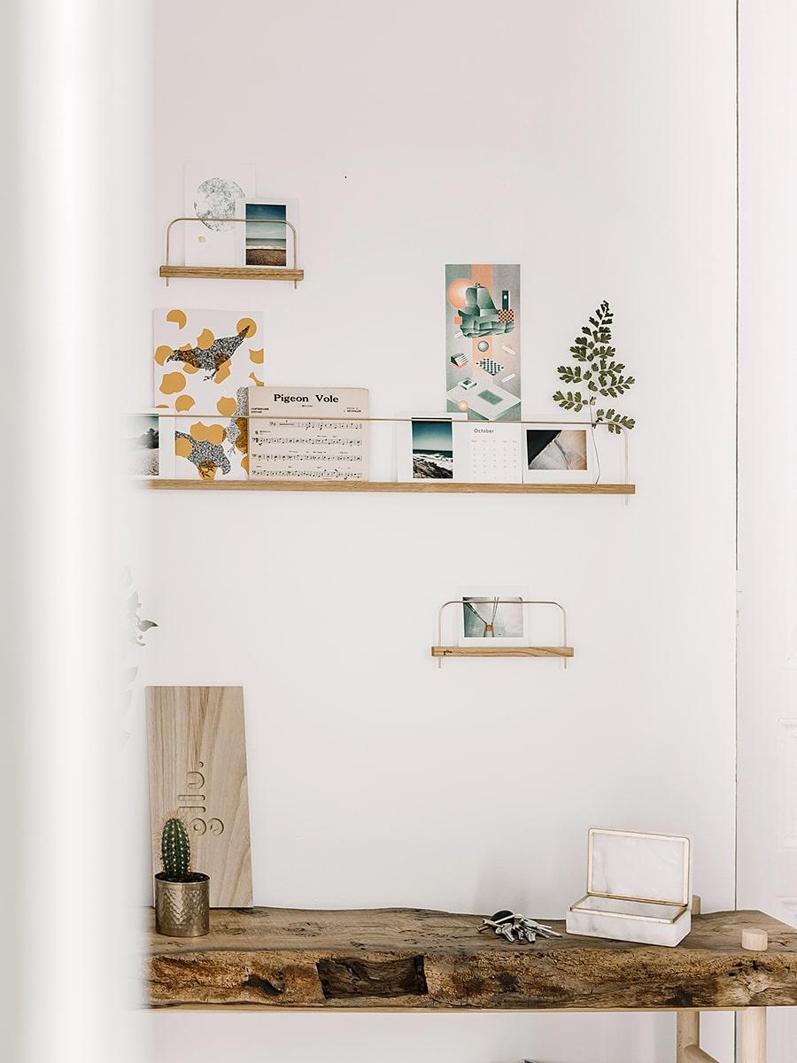 etagere murale photo bois et laiton gllu 80 cm