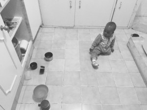 Baby decided she also had kitchen-work.