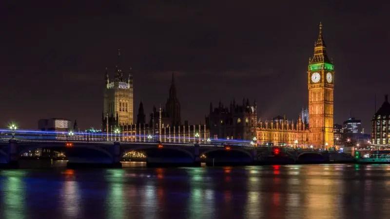 London Bridge Night Clock Thames England