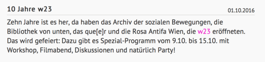 Screenshot: Homepage von Rosa Antifa Wien, www.raw.at