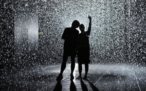 Couple stands in the rain