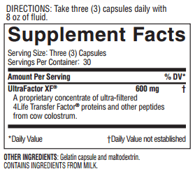 Transfer Factor Classic Supplement Facts