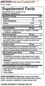 Energy Go Stix Supplement Facts