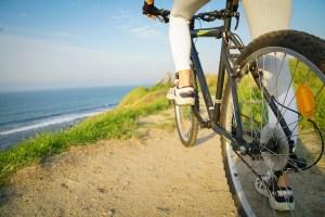 Mountainbike groß vor Küste in Walcheren Westkapelle